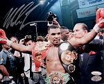 Mike Tyson Autographed Hands Up Post Fight 8x10 Photo