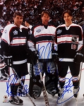 Ray Bourque, Patrick Roy & Joe Sakic Autographed Avalanche All-Stars 8x10 Photo