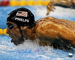 Michael Phelps Autographed Side View Swimming 16x20 Photo