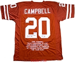 Earl Campbell Autographed UT Texas Longorns Career Stat Jersey