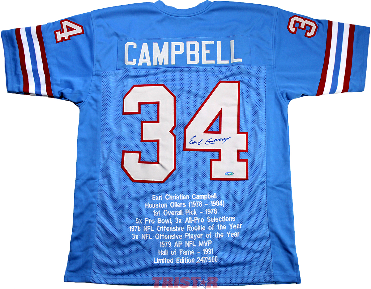 61454793865 Earl Campbell Autographed Houston Oilers Stat Jersey
