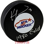 Ken Morrow Autographed USA Logo Puck Inscribed 1980 Gold