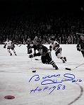 Bobby Hull Autographed Blackhawks 1961 Finals 8x10 Photo Inscribed HOF 1983