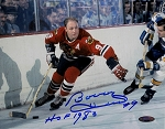 Bobby Hull Autographed Blackhawks Close-up 8x10 Photo Inscribed HOF 1983