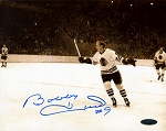 Bobby Hull Autographed Chicago Blackhawks Cheering B&W 8x10 Photo