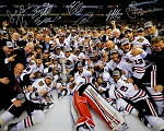 2013 Blackhawks Team Autographed Stanley Cup Champs 16x20 Photo - 8 Signatures