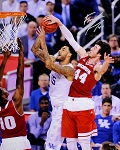 Frank Kaminsky Autographed Badgers 2015 Final Four Blocking Shot 16x20 Photo