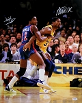 Magic Johnson & Isiah Thomas Autographed Pistons vs Lakers 16x20 Photo