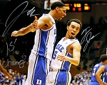 Jahlil Okafor & Tyus Jones Dual Autographed Duke 16x20 Photo Inscribed '15 Champs