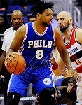 Jahlil Okafor Autographed Philadelphia 76ers vs Wizards 16x20 Photo