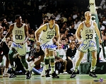 Larry Bird, Robert Parish & Kevin McHale Autographed Celtics Action 16x20 Photo