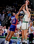 Larry Bird & Dennis Rodman Autographed Celtics vs Pistons 16x20 Photo