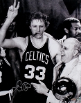 Larry Bird Autographed Celtics Cigar Celebration w/ Red Auerbac 16x20 Photo