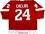 Chris Chelios Autographed Red Wings Custom Jersey Inscribed 2002, 08 Cup Champ