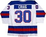 Jim Craig Autographed USA Custom Jersey Inscribed 1980 Gold