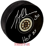 Gerry Cheevers Autographed Boston Bruins Logo Puck Inscribed HOF 85