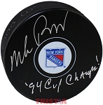 Mike Richter Autographed New York Rangers Puck Inscribed 94 Cup Champs