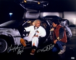 Michael J Fox & Christopher Lloyd Autographed Back to the Future Delorean 16x20 Photo