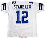 Roger Staubach Autographed Cowboys Jersey Inscribed SB 6 MVP, HOF 85