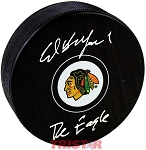 Ed Belfour Autographed Chicago Blackhawks Logo Puck Inscribed The Eagle