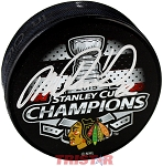 Michal Rozsival Autographed Chicago Blackhawks 15 Stanley Cup Champs Puck