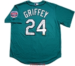 Ken Griffey Jr. Autographed Seattle Mariners 1990s Green Replica Jersey Inscribed HOF 16