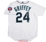 Ken Griffey Jr. Autographed Seattle Mariners 1990s White Replica Jersey Inscribed HOF 16