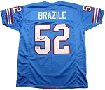 Robert Brazile Autographed Houston Oilers Custom Jersey Inscribed HOF 18