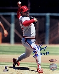 Tom Browning Autographed Cincinnati Reds 8x10 Photo Inscribed PG 9-16-88