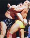 Hulk Hogan Autographed Wrestling vs. Andre The Giant 16x20 Photo