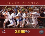 Craig Biggio Autographed Houston Astros 3000 Hit Action 8x10 Photo