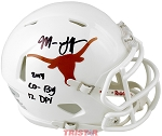 Malik Jefferson Autographed Texas Longhorns Mini Helmet Inscribed Co-Big 12 DPOY