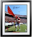 Baker Mayfield Autographed Oklahoma Sooners Running with Flag 16x20 Photo Framed