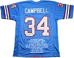 Earl Campbell Unsigned Blue Custom Stat Jersey