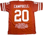 Earl Campbell Unsigned Texas Orange Custom Stat Jersey