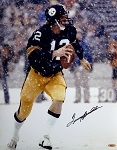 Terry Bradshaw Autographed Pittsburgh Steelers in Snow 16x20 Photo