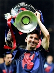 Lionel Messi Autographed Barcelona 2015 EUFA Champion 12x16 Photo