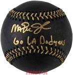 Magic Johnson Autographed Black ML Baseball Inscribed Go LA Dodgers