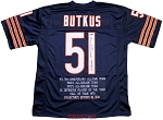 Dick Butkus Autographed Chicago Bears Stat Jersey Inscribed HOF, Monster of the Midway