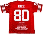 Jerry Rice Autographed San Francisco 49ers Career Stat Embroidered Jersey
