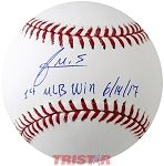 Francis Martes Autographed Official ML Baseball Inscribed 1st MLB Win
