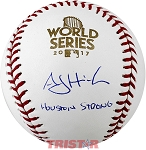 A.J. Hinch Autographed 2017 World Series Baseball Inscribed Houston Strong