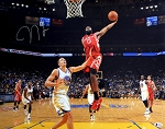 James Harden Autographed Houston Rockets Dunk vs Warriors 16x20 Photo