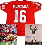 Joe Montana, Jimmy Garoppolo & YA TIttle Autographed Jersey & 8x10 Photos Combo