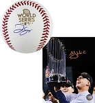 George Springer Autographed 2017 WS Baseball + AJ Hinch Signed Astros 2017 WS 8x10 Photo