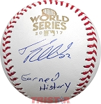 Josh Reddick Autographed 2017 World Series Baseball Inscribed Earned History