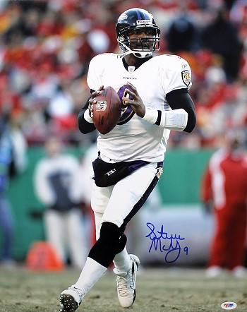 Steve McNair Autographed Baltimore Ravens White Jersey 16x20 Photo