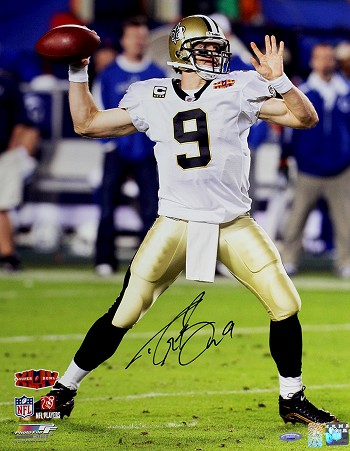 Drew Brees Autographed New Orleans Saints Super Bowl XLIV 16x20 Photo