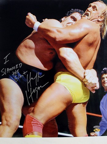 Hulk Hogan Autographed Wrestling 16x20 Photo Inscribed I Slammed The Giant