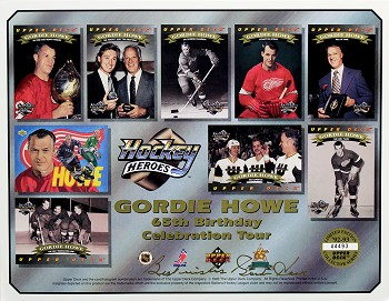 Gordie Howe Autographed 65th Birthday Celebration Tour 8x10 Photo